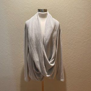 Anthropologie light grey terry loungewear top sz L